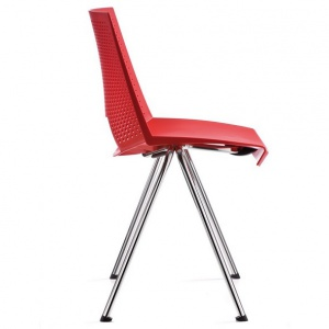 chaise c07 pied incline coque polypropylene rouge